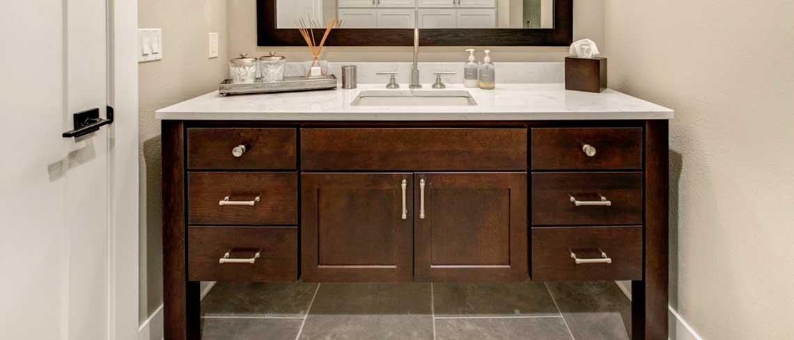 Bridgeport door style in Cherry finished in Mocha | Raby Home Solutions