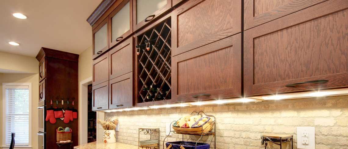 Bridgeport door style in Oak finished in Chestnut