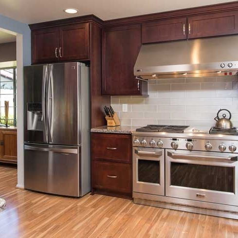 Bridgeport door style in Cherry finished in Brittany | Raby Home Solutions